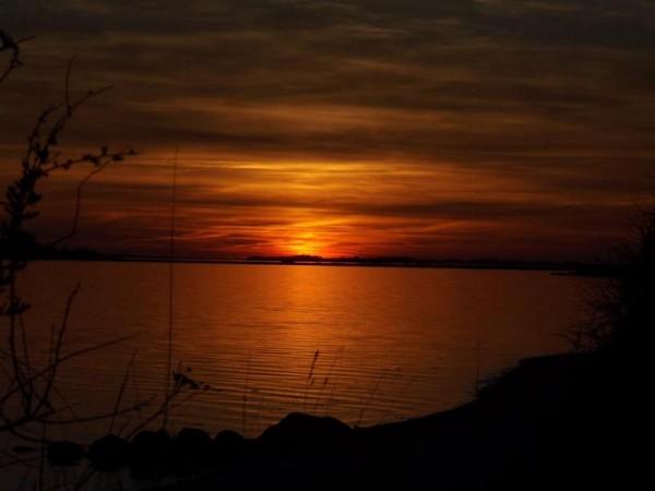 einen geilen Sonnenuntergang am Stand