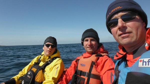 Matthias, Martin und Guido auf hoher See